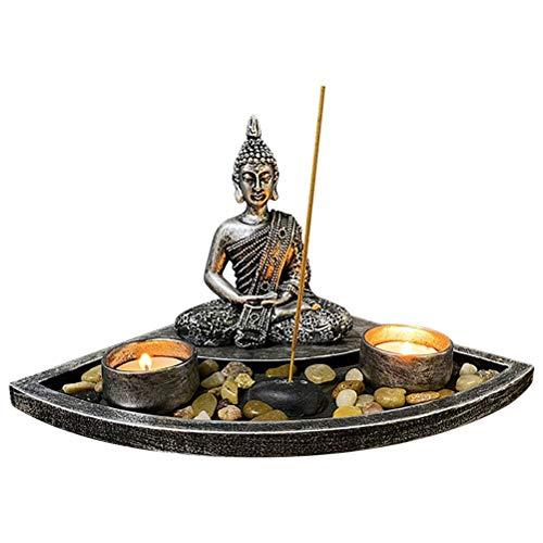 ZHUSHI Buddha Kopf Skulptur Zen Garten Set Kleinen Kerzenhalter Kerzenhalter Holz Display Tablett Wohnaccessoires (Color : B)
