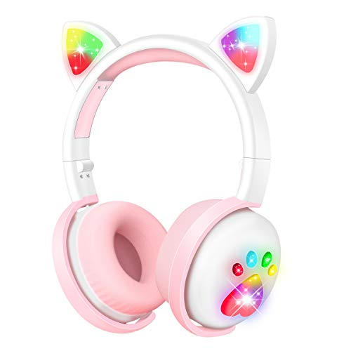 Kids Headphones Wireless, Girls Cat Ear Bluetooth Headphones, Foldable LED Light Up Headphones Over On Ear with Microphone, for Child/Teens/iPhone/iPad/PC/TV, Gift for Birthday/Christmas(White)