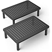 2 Pack Premium Laptop PC Monitor Stand with Sturdy, Stable Black Metal Construction. Fashionable Riser Height Adjustable with Non-Skid Rubber. Perfect for Computer Monitor iMac Stand or Computer Shelf
