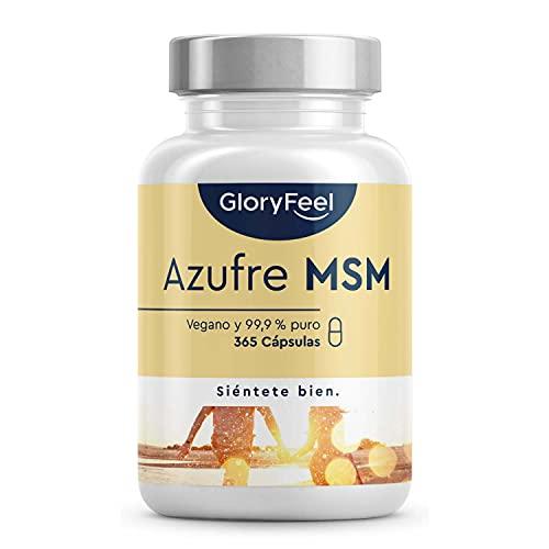 MSM 365 cápsulas veganas - 1600mg MSM (Metilsulfonilmetano) en polvo por dosis diaria de azufre...