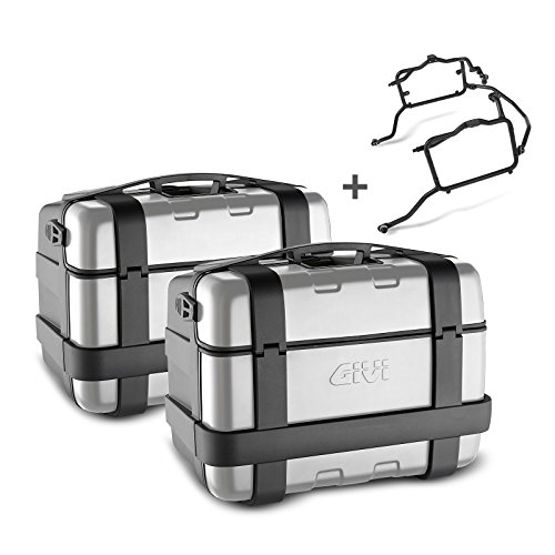 Juego de maletas laterales Suzuki V-Strom 650 04-11 Givi Monokey Trekker TRK46N negro con cubierta de aluminio