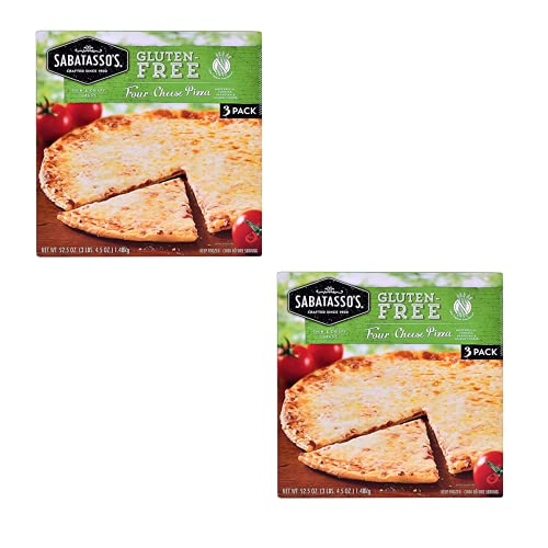 Sabatasso's Gluten-Free Four Cheese Frozen Pizza (Two Boxes of 3 Pizzas) | Thin and Crispy Crust, Italian Style Pizza | Each Pizza Serves 12 | By Gourmet Kitchn