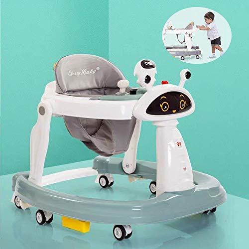 XH&XH Andador Plegable antivuelco para bebé con Seis Ruedas universales para bebé con Bandeja de fácil Limpieza para niñas, niños, 6-18 Meses, niños pequeños