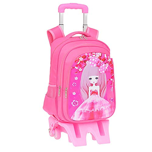 ZZLHHD Children's Rolling Backpack,Climbing the rod backpack, cute cartoon bag-Powder B_High foot,Girls Rolling Backpack with Wheels