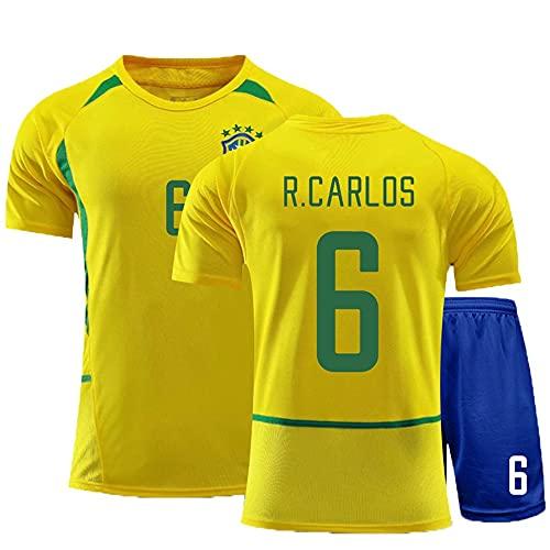Camiseta Futbol Jersey de fútbol # 6 Roberto Carlos Hombre Sudadera Transpirable T-Shirt Regalos para Amigos y Familiares (Color : A, Size : Adult Large)