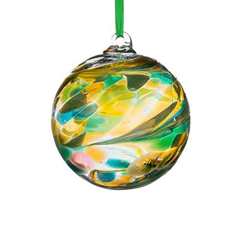 Sienna Glass August Birthstone Glass Friendship Ball-Peridot, 11 x 11 x 14 cm