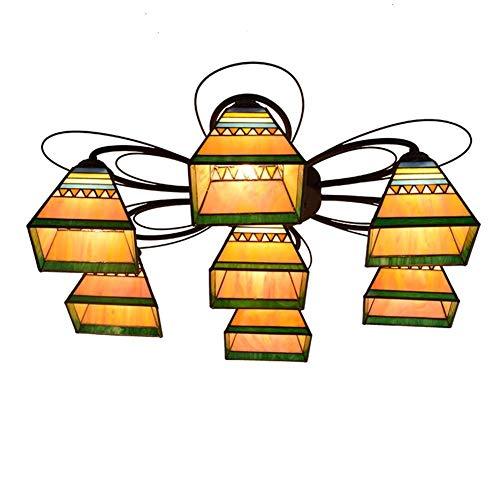 CX Araña Iluminación Techo Luz Pirámide Estilo Manchado 7 Múltiples Cabezas Lámpara de Techo Lámpara Vidrio Sala de Estar Comedor Dormitorio Dormitorio Sala de Estar Lámparas Comedor Cuarto d