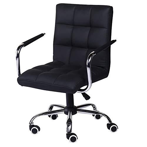 Tarea de escritorio ajustable silla de la computadora de oficina Silla ajustable y giratorio de la PU Silla de cuero for Ministerio Ascensor Estudio Sillón (Color : Negro)