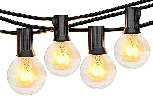 Lichterkette Außen Glühbirnen, 8M Lichterkette Glühbirnen mit 30 Birnen, Wetterfeste G40 Lichterketten Innen/Aussen als Deko für Garten Balkon Grill Pavillions Party, Warmweiß