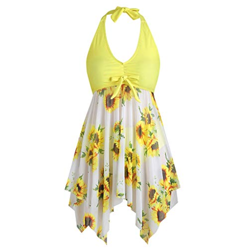 Buy Dainzusyful Plus Size Swimsuits for Women,Two Piece Halter Sunflower Printed Tankini Tummy Contr...