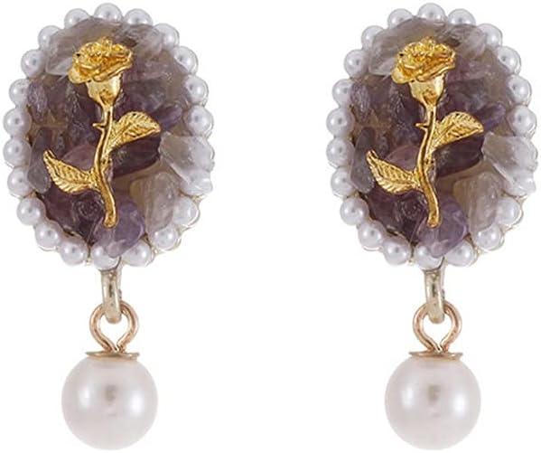 ZSHGCH Earring Ear Studs Earring Ear Studs Palace Style Purple Crystal Rose Stud Earrings Without Pierced Ear Clips Earrings for Women Clip On Earrings