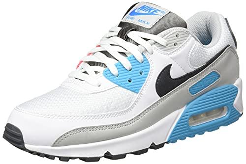 Nike Air Max 90, Scarpe da Corsa Uomo, White/Iron Grey-Chlorine Blue-lt Fusion Red-Grey Fog, 42 EU