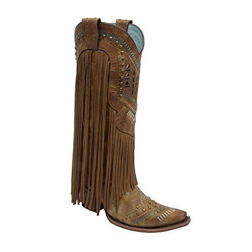 Corral Boots Damen Cowboy Stiefel C2910 Braun Westernstiefel mit Fransen 37 EU