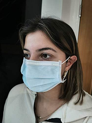 (Pack of 50) 3-Ply Medical Safety Mask - Earloop Protection Polypropylene Blue Masks UK Stock