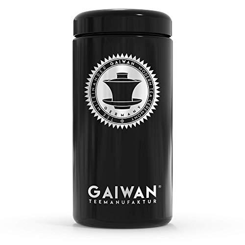 Nachhaltige Teedose aus Glas für losen Tee, Lichtschutz und Aromaschutz, schwarz und luftdicht, Vorratsbehälter oder Vorratsdose für Tee - GAIWAN Teemanufaktur, Made in Germany