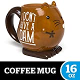 """BigMouth Inc. Eager Beaver Mug - Hilarious 16 oz Ceramic Coffee Cup with Beaver Face - Reads""""I Don't Give a Dam,"""" Perfect for Use at Home or Office, Makes a Great Gift Idea"""
