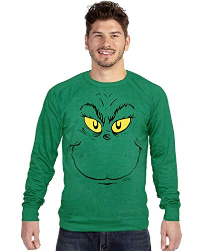 Dr. Seuss Grinch Face Ugly Christmas Sweatshirt (X-Large) Heather Green
