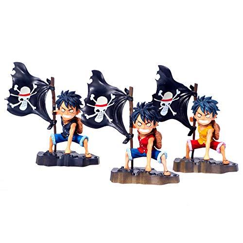 CXNY One Piece Die Strohhut-Piraten der Flagge Ver. Ruffy Action Figure gemalte Figur im Maßstab 1/8 Monkey D Ruffy PVC Figur Spielzeug 3St. / Set