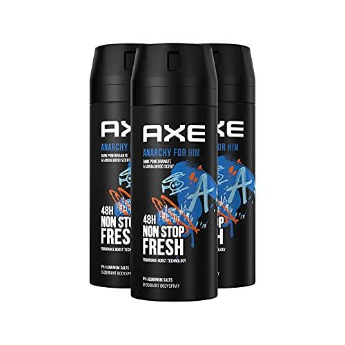 Axe Anarchy Bodyspray & Deospray Herren 3er Pack ohne Aluminiumsalze 48h unwiderstehliche Frische (3 x 150 ml)