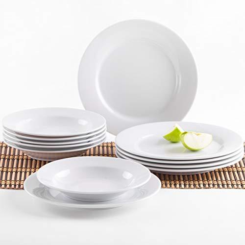 Kahla 57A141O90057C Pronto weiß Porzellanteller Tellerset für 6 Personen Tafelservice 12-teilig Suppenteller Teller ohne Dekor