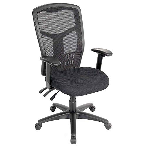 Global Industrial Multifunction Office Chair, Mesh Back, Fabric Upholstered Seat