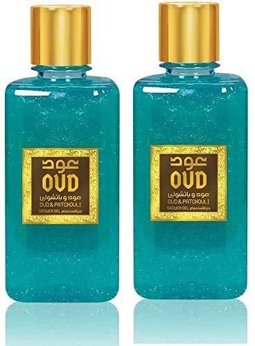 Lot de 2 Gels Douche Patchouli Oud 300ml Parfumé Pour le Corps Homme et Femme Notes: Oud, Patchouli, Tangerine