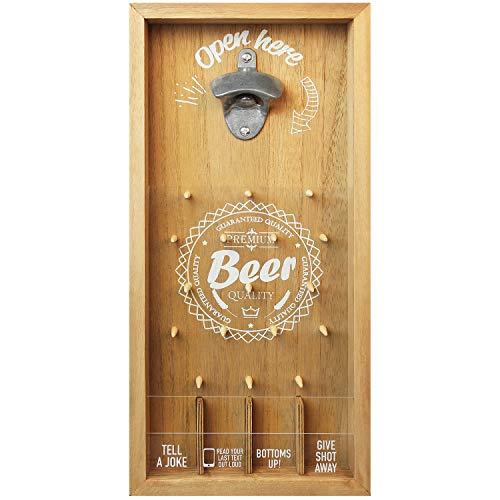 Multistore 2002 - Apribottiglie con gioco per bere, 19 x 4 x 39 cm, tappo a corona per feste da montare a parete, apribirra, variante: modello 2