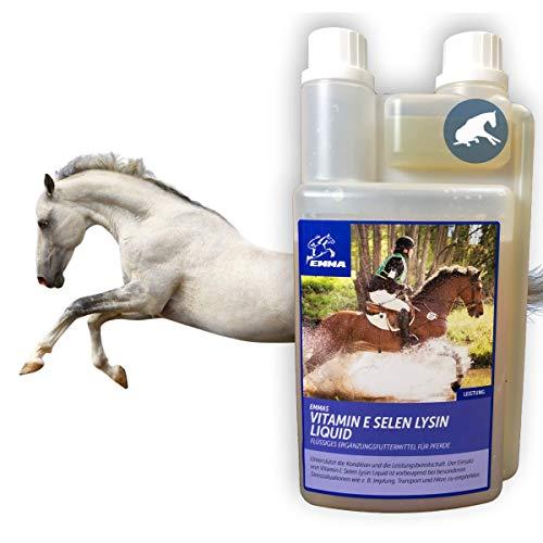 Vitamin E Pferd I VIT e Selen Lysin I Selenmangel I Vitamine & Mineralstoffe I Energy Booster unterstützt Muskulatur Muskelaufbau Kondition Leistung I Pferd Pony Sportpferd Senior 1L