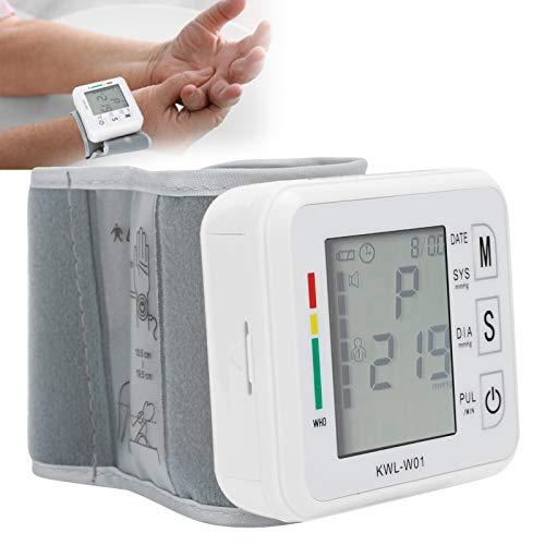 Esfigmomanómetro, medidor de presión, monitor de presión arterial de muñeca con pantalla LCD con inflado automático y extracción de tamaño portátil para personas de mediana edad y ancianos