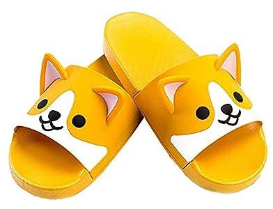 FUYU Women's Cute Cartoon Animal Ears Corgi Non-Slip Shower Sandals Bathroom Soft Slipper Husky Couples Shoes, 11 Women/10 Men