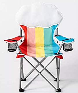Sun Squad Kids Beach Chair! Foldable Children's Chair for Camping, Tailgates, and Outdoor Events! Kids Folding Chair with Handy Cup Holder and Carrying Bag! Choose Your Kids Chair Design! (Rainbow)