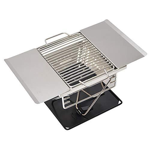 Générique Acier Inoxydable Barbecue Charbon De Bois Barbecue pour Camping en Plein Air Pliant Portable Cuisinière Ménage Barbecue Outils