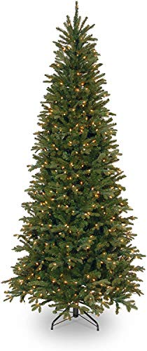 National Tree Company Feel Real lit Artificial Christmas Tree Includes Pre-strung White Lights and Stand Tiffany Fir Slim, 7.5 ft, Green