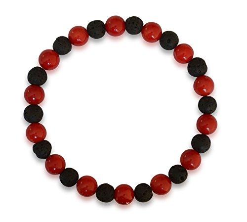 Vifaleno Bracciale in Corallo, Corallo Naturale, Rosso, Cerchio,7mm, con Lava