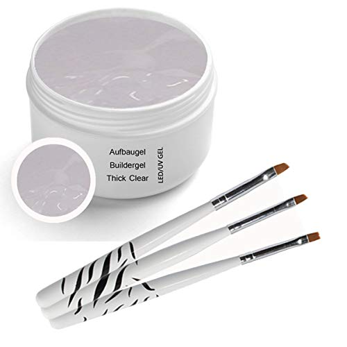 UV Gel Thick - Clear Buildergel 30ml - incl. 3 pcs. Brush set