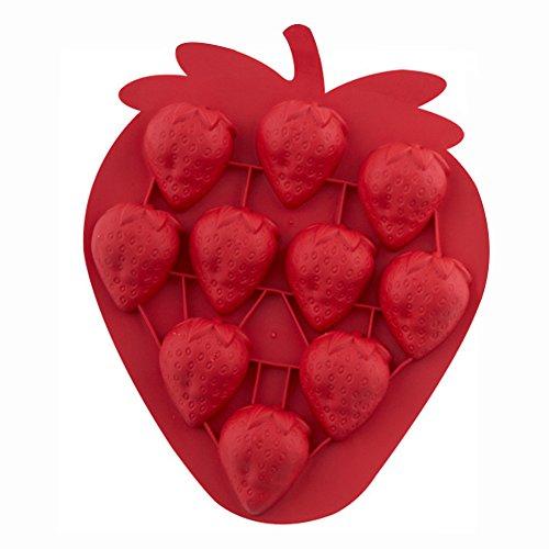 Vi.yo 1 Stück Eiswürfelform Eiswürfelbehälter Erdbeere Form EIS Werkzeuge Schokolade EIS DIY Form 19cm×16cm×3cm Zufällige Farbe