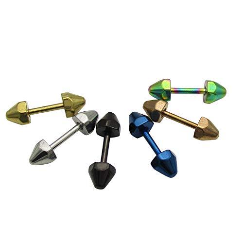 ステンレス スタッズ型ピアス (1) 小4mm 片耳売り 鋲 ゴールド サージカル 316L 金属アレルギー対応 青色