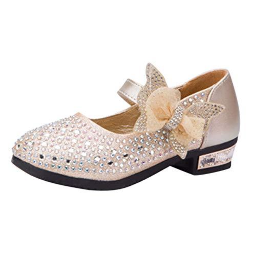 Mymyguoe Tanzschuhe Mädchen Ziersteine Kristall Bling Schleife Knoten Prinzessin Gelee Schuhe Performance-Schuhe Flache Absatz-Schuhe Sandalen Kinder Glanz Baby Mädchen einzelne Ballettschuhe