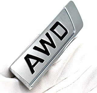 1PCS 3D Metal AWD Logo Emblem Tailgate Side Sticker Badge Decals Replacement For Universal Cars (Black Chrome)