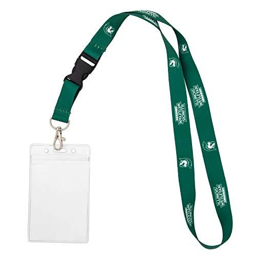 Illinois Wesleyan University IWU Titans Car Keys College ID Badge Holder Lanyard Keychain Detachable Breakaway Snap Buckle (w/ Pouch Green)