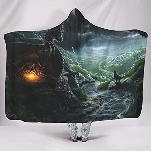 kikomia Manta con capucha, diseño de dragón, lobo, río y montaña, color blanco, 150 x 200 cm