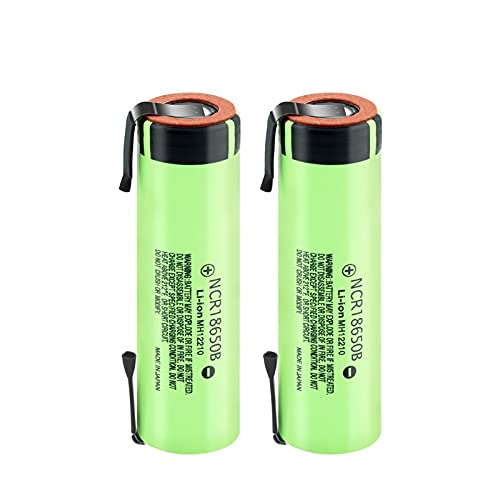 josiedf Batería De Iones De Litio De 3.7v 3400mah NCR18650B, Descarga Recargable 20a para CáMara De MicróFono De Banco De Potencia 2Pcs