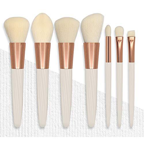 DDameinv 7 Jade Blanc Maquillage Brosse Douce Fibre Cheveux Ensemble Complet de débutant Brosse de Maquillage mis Outils de beauté