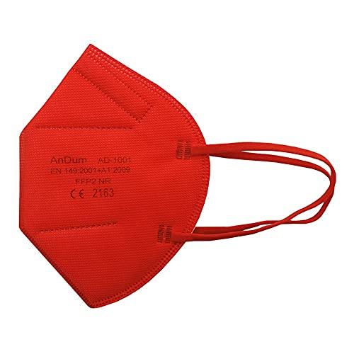 Null Karat 5 Stück FFP2 Masken Atemschutzmasken bunt farbig viele Farben (rot)