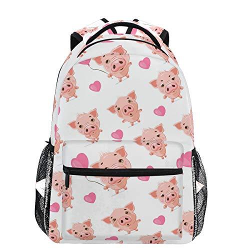 Oarencol Cute Pink Pig Heart Watercolor Cartoon Animal Backpacks Bookbags Daypack Travel School College Bag for Womens Girls Mens Boys Teens