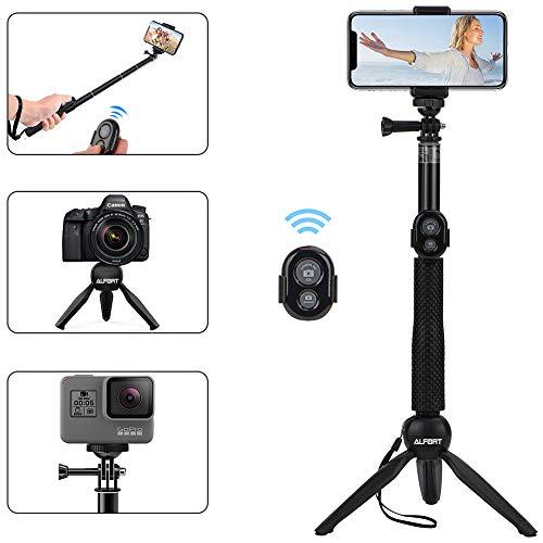 Alfort Palo Selfie, Selfie Stick Bluetooth Trípode Portátil con Control Remoto per iPhone 11 Pro/X/8/Samsung GALAXY S10/S9/Huawei P20/Mate 10 y Otros Teléfonos con Android/iOS (6.0\'\')