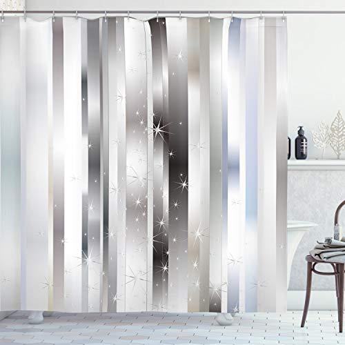 ABAKUHAUS Duschvorhang, Moderne Komposition Vertikalen Verschiedene Silber Tönen Farbbänder und Lebendige Sternfiguren, Blickdicht aus Stoff mit 12 Ringen Waschbar Langhaltig Hochwertig, 175 X 200 cm