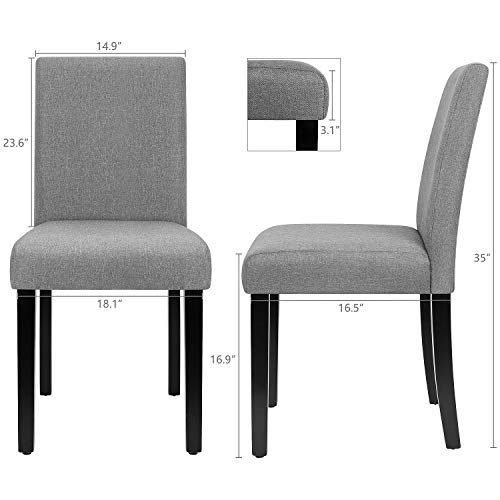 Furmax Dining Chairs Urban Style Fabric Parson Chairs Kitchen Living Room Armless Side Chair with Solid Wood Legs Set of 4 (Gray)