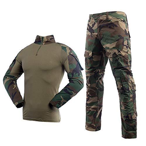 LANBAOSI Men's Tactical Combat Shirt and Pants Set Long Sleeve Multicam Woodland BDU Hunting Military Uniform 1/4 Zip (Medium, Jungle Camo)