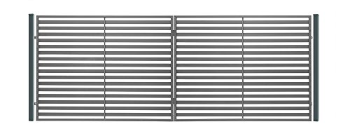 SO18 Einfahrtstor Hoftor Doppelflügeltor Gartentor Berlin mit Riegelset 350 x 150 cm Komplett-Set inklusive 2 Torelementen, 2 Stahlpfosten und Beschlägen. Gesamtbreite ist ca. 377 cm